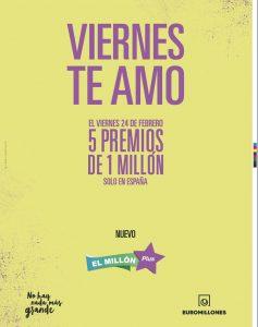 ¡5 Premios de 1 Millón! Euromillón te amo